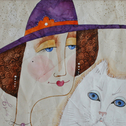 Lady with a White Cat